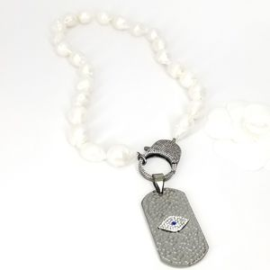 NEW Baroque Pearls Evil Eye Charm Pave CZ Necklace